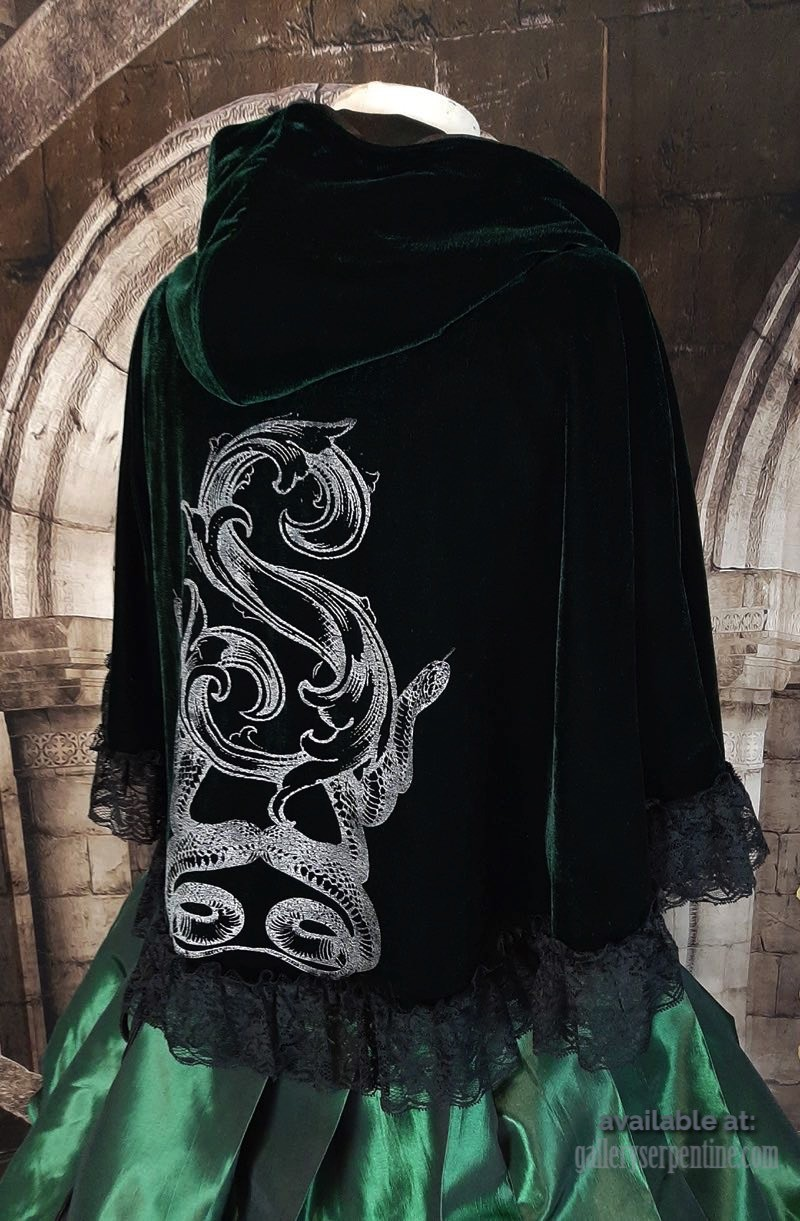 side back view showing baroque S and double snake screen print Slytherin cosplay cape