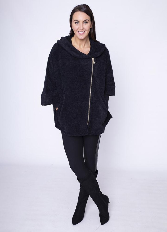 Side Zip Cardi Coat in Black