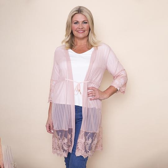 Embroidered Long Lace Cardi(Pink)