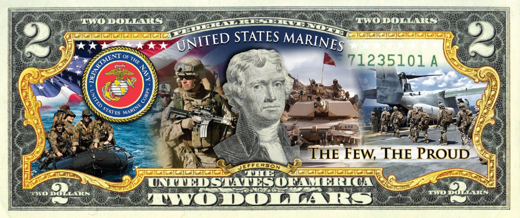 'U.S Marines' - Genuine Legal Tender U.S. $2 Bill