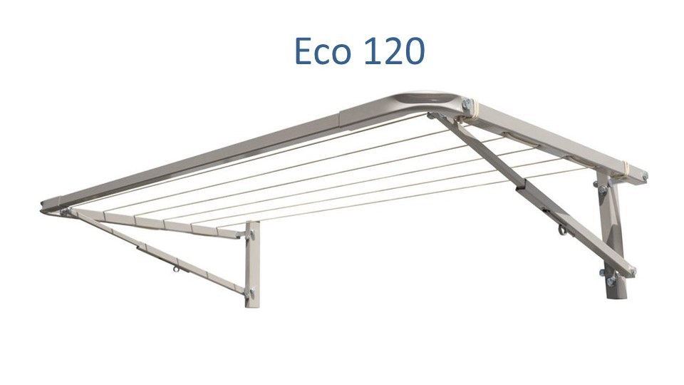 eco 120 clothesline at 1.0m wide and multiple depths installed onto brick wall