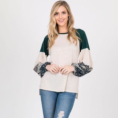 Sandy Raglan Top Hunter Green
