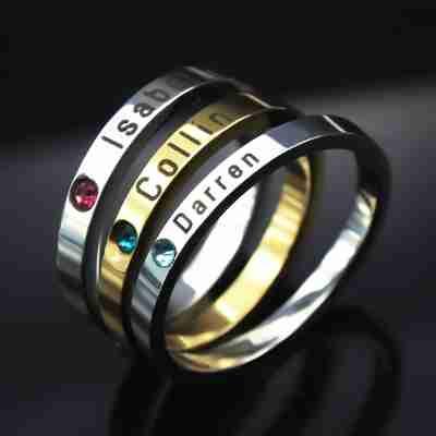 Personalised Stackable Birthstone Rings