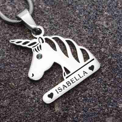 Unicorn Head Birthstone Necklace