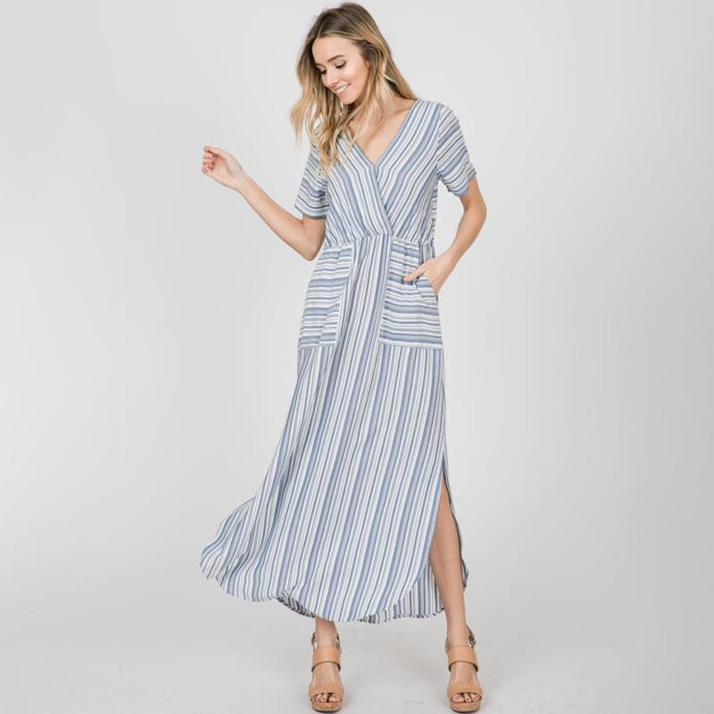 Suzy Stripe Maxi Dress Blue