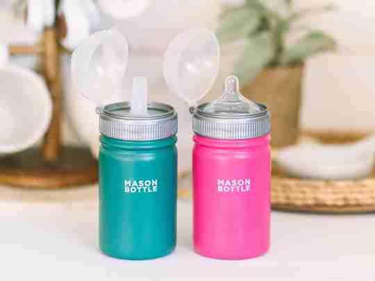 Stainless steel bottle with nipple or straw top