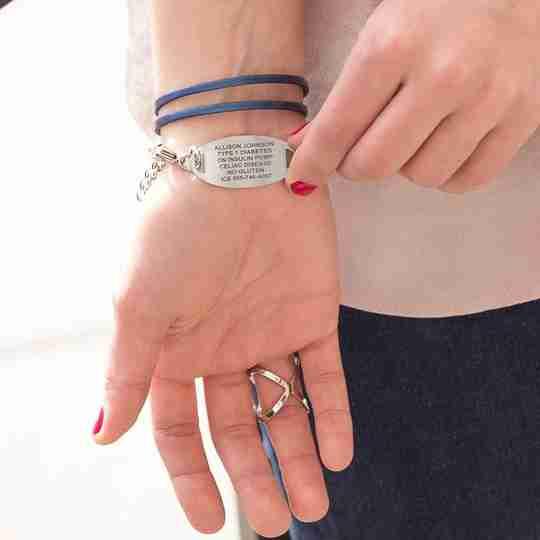 The back of a medical ID bracelet with wearer details