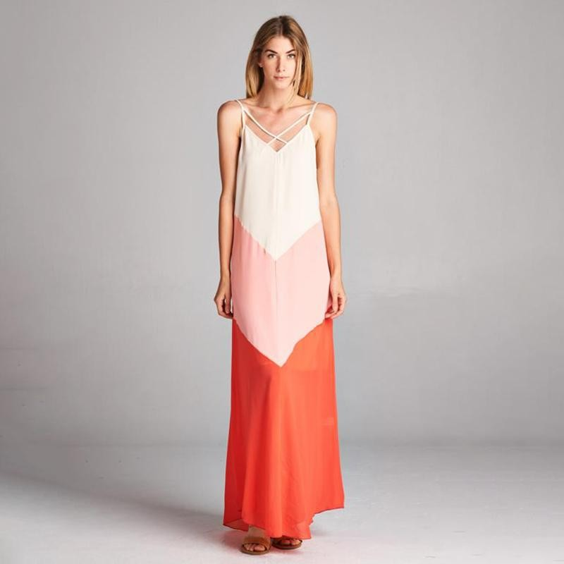 Crystal Cross Strap Ombre Maxi