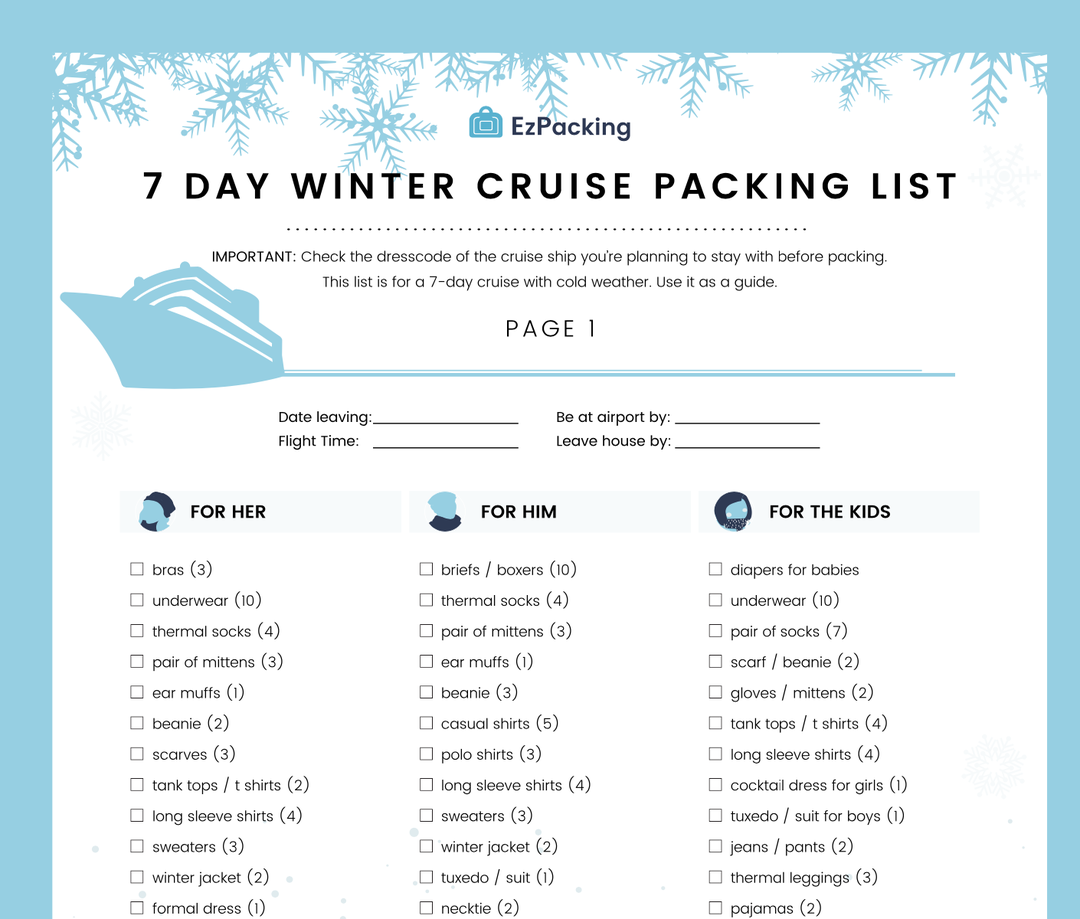 7 day winter cruise packing list for your family