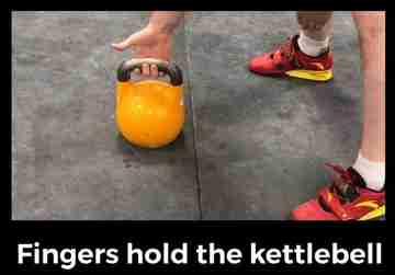 Holding a kettlebell