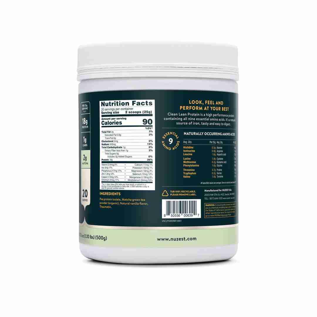 Vanilla Matcha Ingredient Label