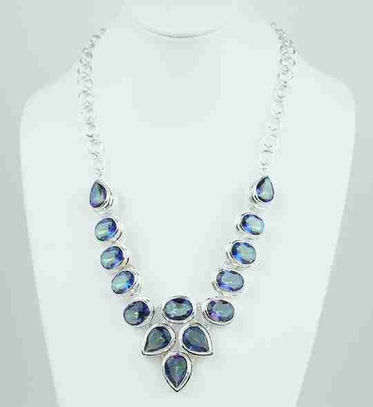 A blue topaz matinee necklace