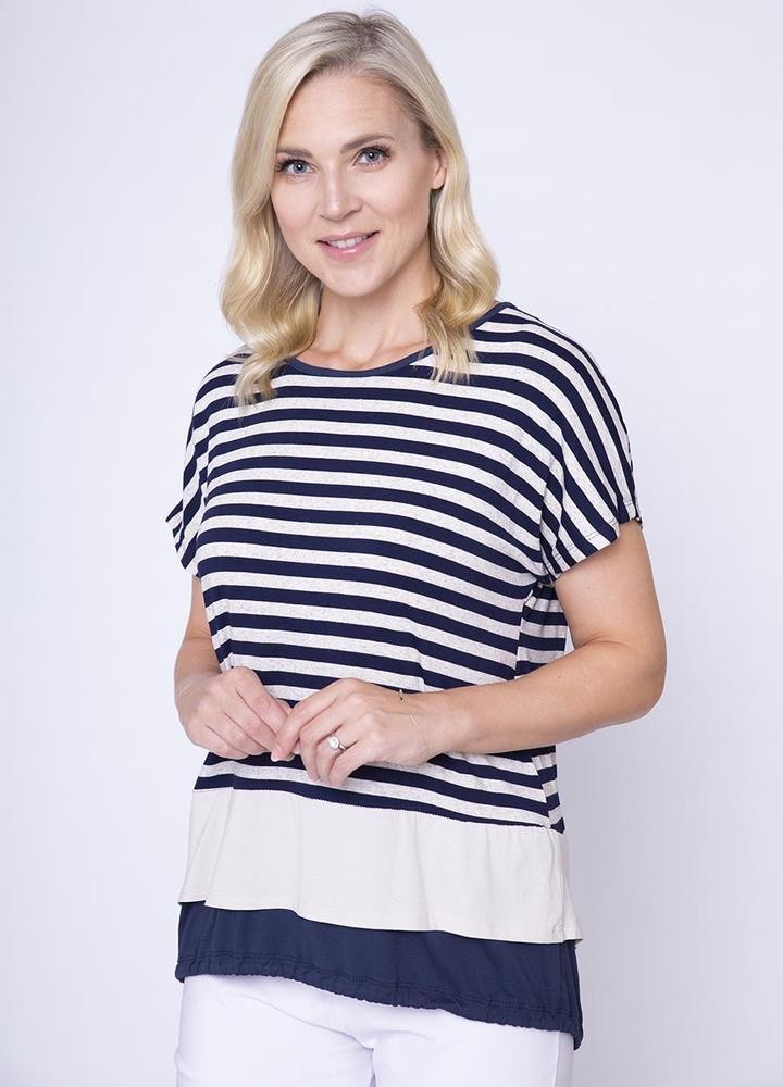 Stripe Tie Back Top Navy
