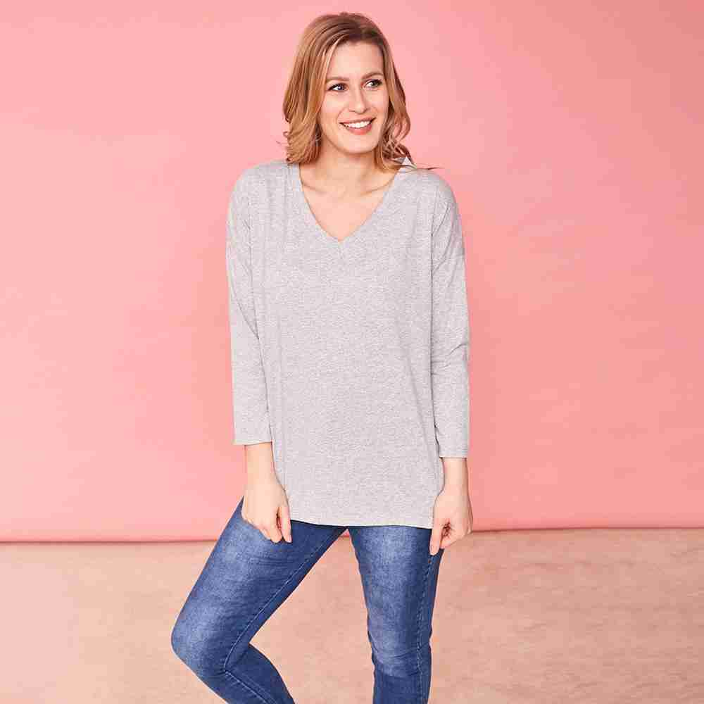 Riley V Neck Top (Marled Grey)