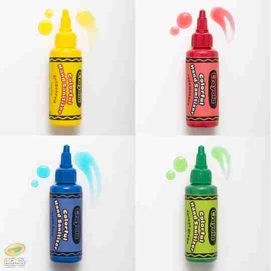 Crayola sanitizer for kids with backpack attachment and back to school children's reusable fabric face masks for the classroom