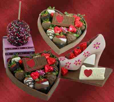 Shoes, hearts, and cake balls made out of chocolate