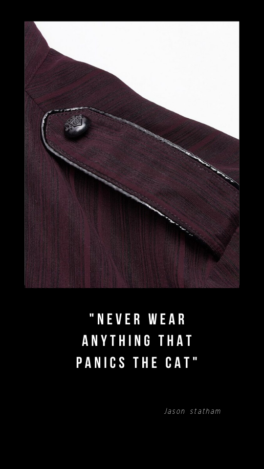 dark cherrywood coloured men's shirt showing epaulet with black military insignia button and piped edging in black pvc