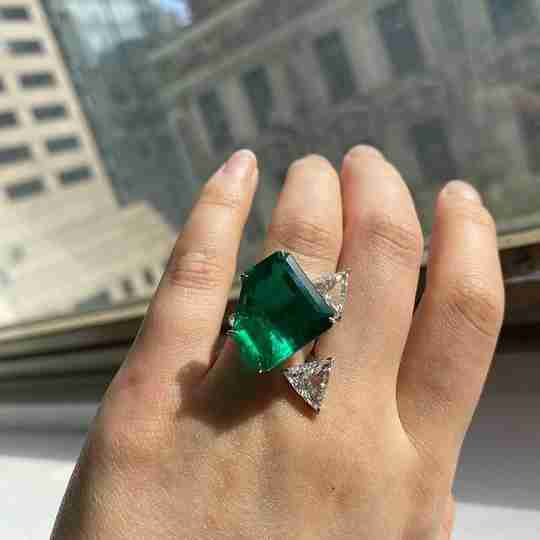 Lorraine Schwartz wearing an emerald ring