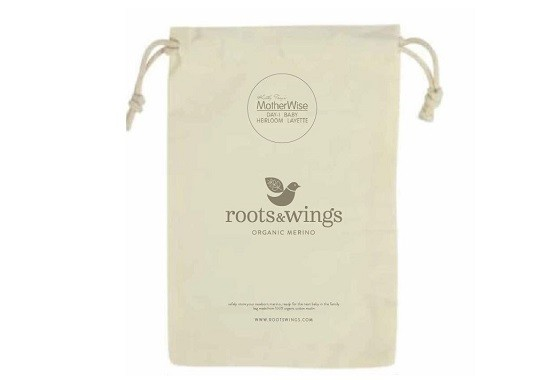 organic muslin bag to keep your merino heirloom layette for newborns safe