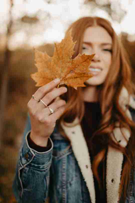 Fall Jewelry - Intro woman holding leaf