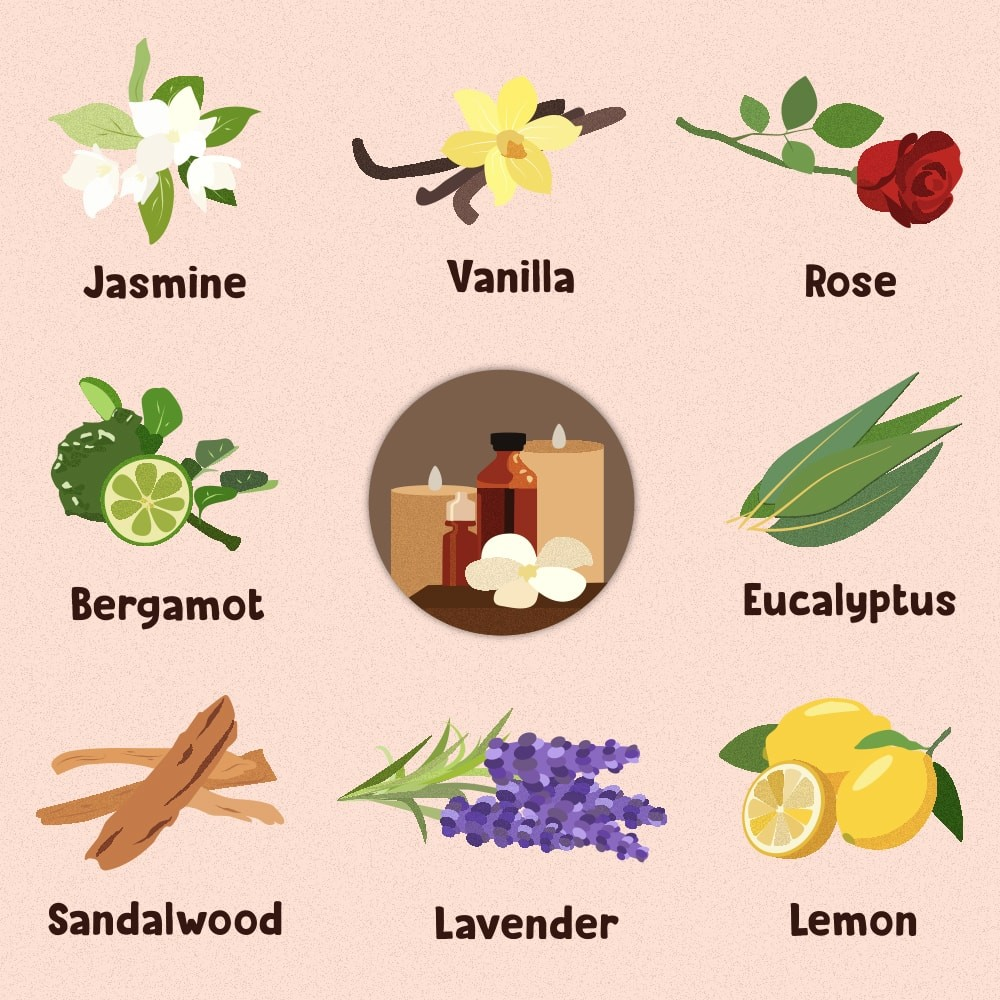 Plants and herbs such as lavender, bergamot, jasmine, and sandalwood are soothing and help your mind unwind before sleep.