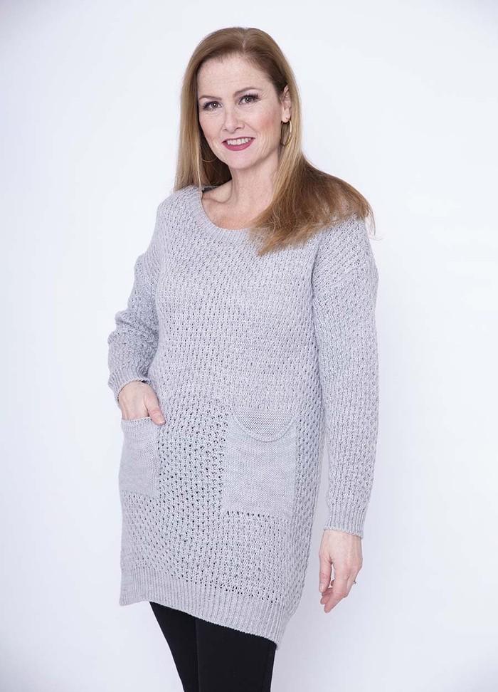 Two Pocket Knit Tunic(Grey)