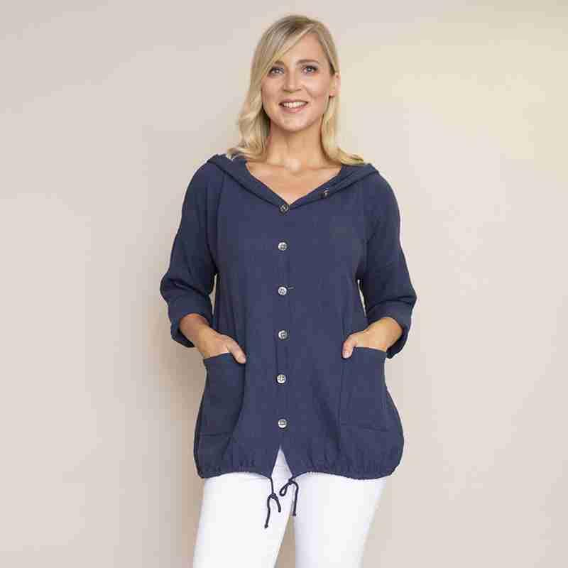 Crinkle Cotton Hoody Jacket(Navy)