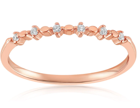 minimalist rose gold vermeil ring with six cubic zirconia gems