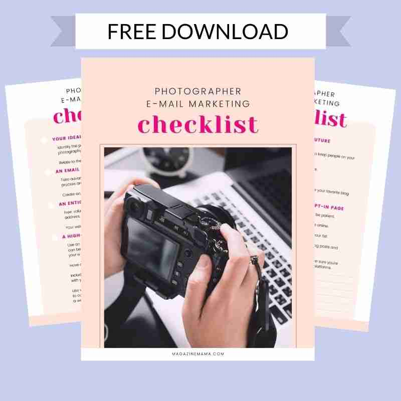 Free email checklist for photographers