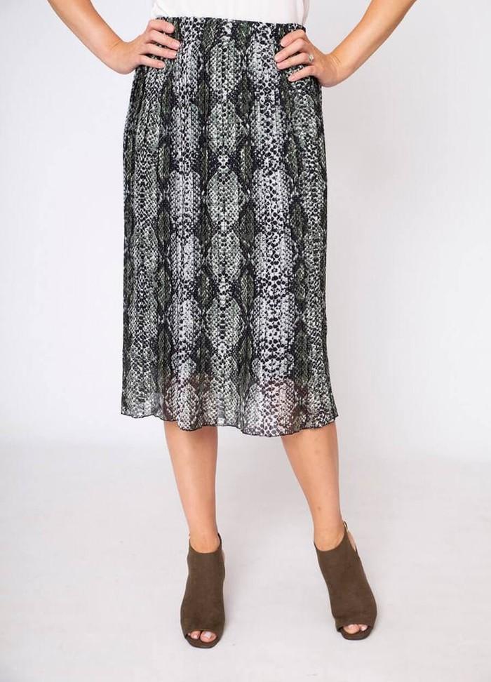 Snake Print Pleat Skirt in Khaki