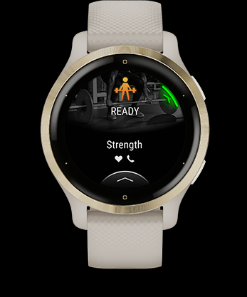 CREATE WORKOUTS Choose from more than 1,400 exercises to build your own workouts in the Garmin Connect app on your compatible smartphone. Then download them to the watch. Venu 2