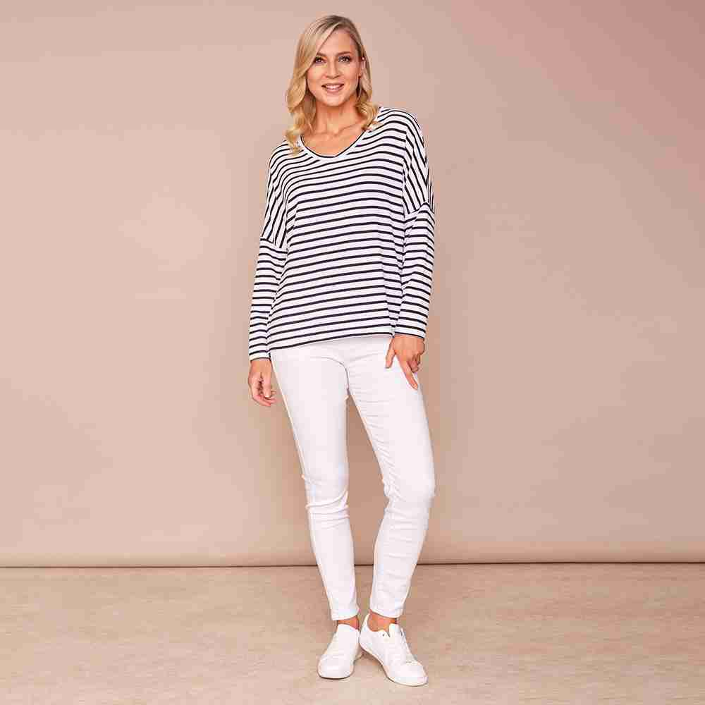 Amy V Neck Stripe Top (White)