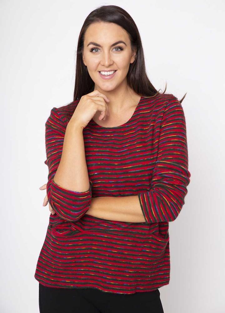 2 Pocket Stripe Top (Red)