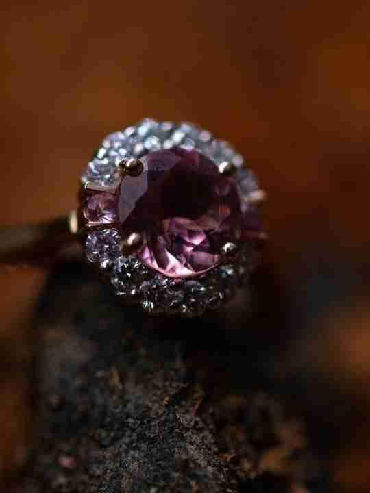 Amethyst ring on a stone