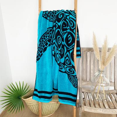 spécialiste serviette de plage adulte taille l et xl éponge velours Jacquard 100% coton