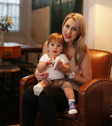 Founder Caroline Africh with son Henry