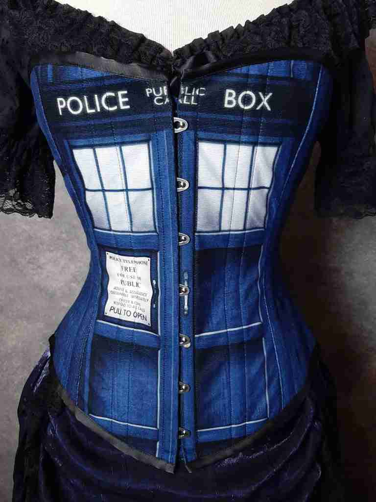 Custom digital printed Police Box over bust corset for Dr Who fans, blue and white