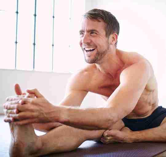 Q&A olympian Leon Taylor stretching