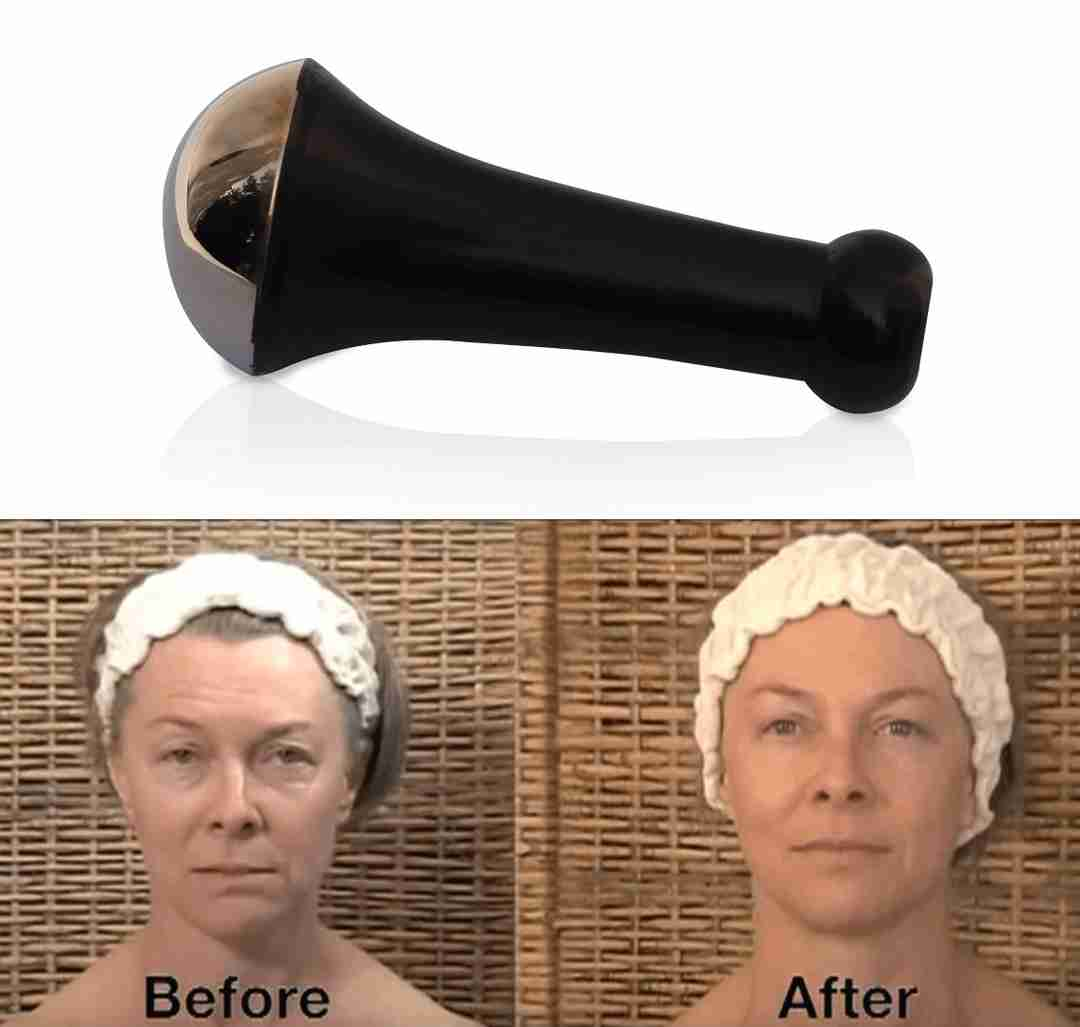 a before and after picture of a woman with an uplifted face and diminished fine lines accompanied by a Kansa Wand