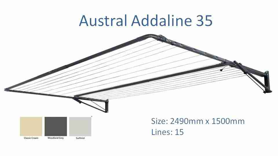 austral addaline 2400mm wide dimensions and colour options