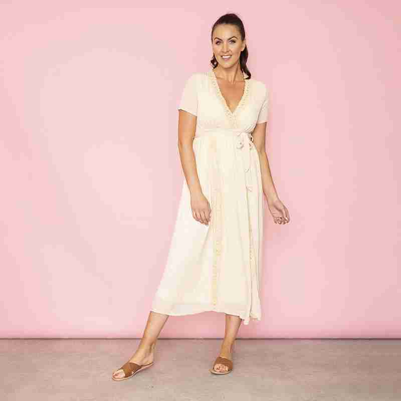 Lara Lace Trim Maxi Dress(Oat)