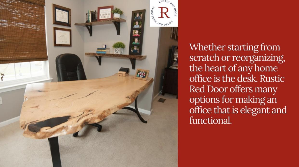 live edge desk in home office
