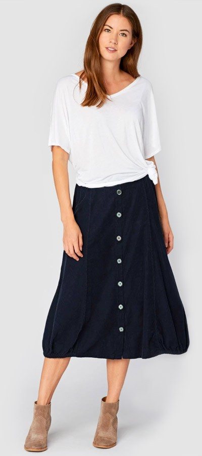 Dolman Tee + Exposed Buttons Skirt