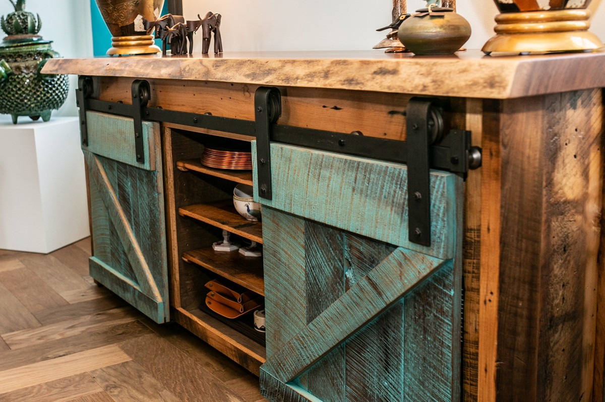 live edge buffet with turquoise barn doors