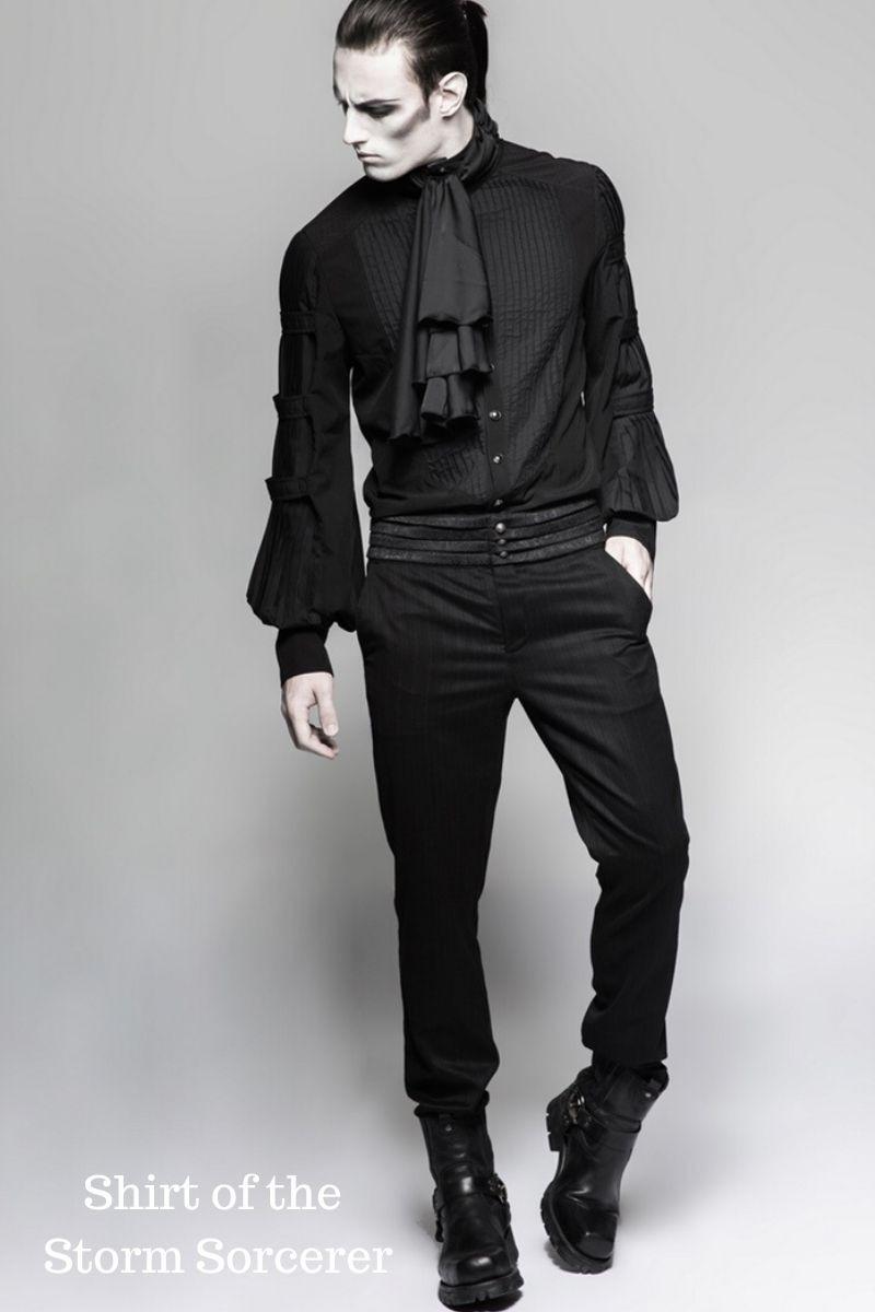 shirt of the storm sorcerer, black mens formal gothic victorian shirt with satin cravat