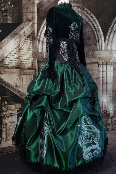 side back view of the emerald victorian meets harry potter slytherin gown