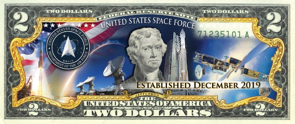 'U.S Space Force' - Genuine Legal Tender U.S. $2 Bill