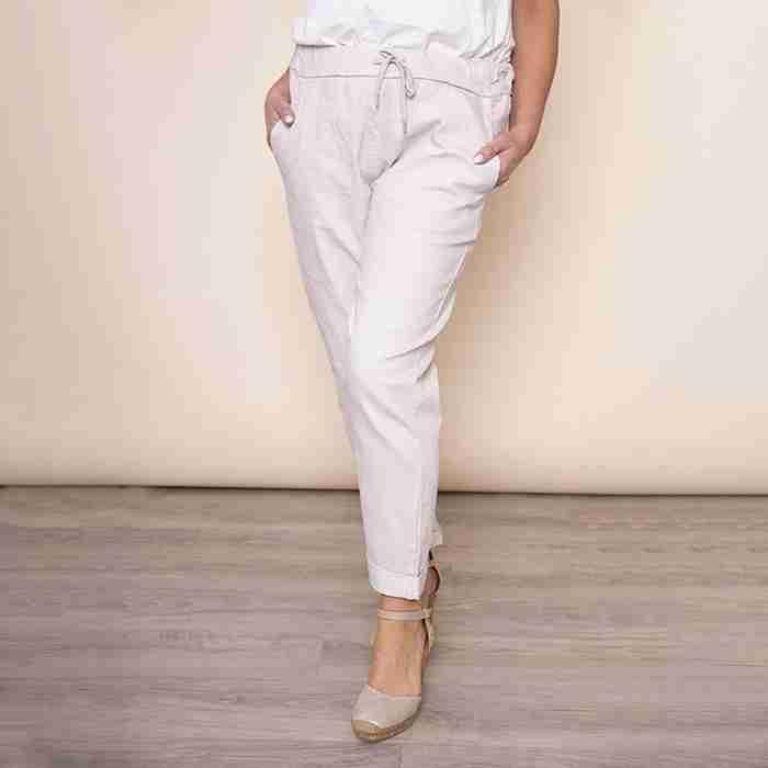Drawstring Cotton Trouser(Beige)