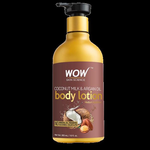 WOW Skin Science Coconut Milk and Argan Oil Body Lotion, Medium Hydration - 300 ml