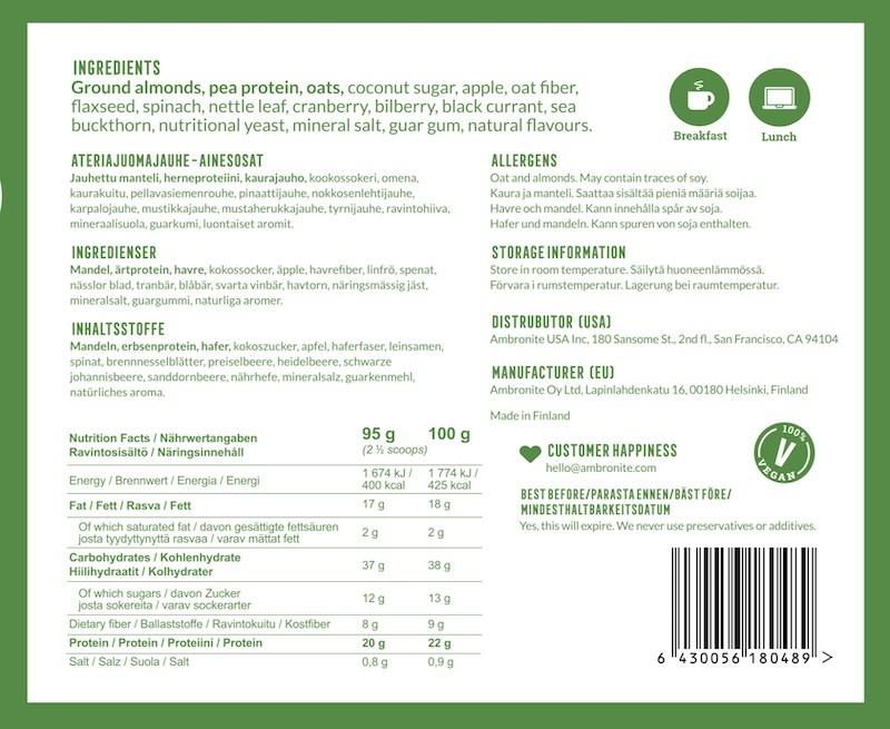 Ambronite Balanced Meal Shake ravitsemus